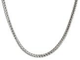 Rhodium Over Sterling Silver Square Foxtail Link Chain Necklace 20 inch 3.5mm
