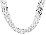 Sterling Silver Woven Herringbone Link Necklace 18 inch