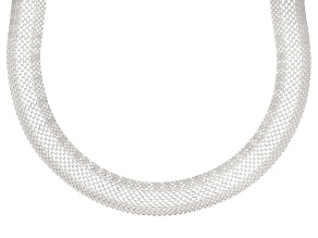 Sterling Silver Flat Woven Necklace 18 inch