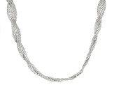 Sterling Silver Braided Flat Popcorn Link Necklace 18 inch