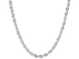 Sterling Silver Diamond Cut Rope Link Chain Necklace 20 inch 3.5mm