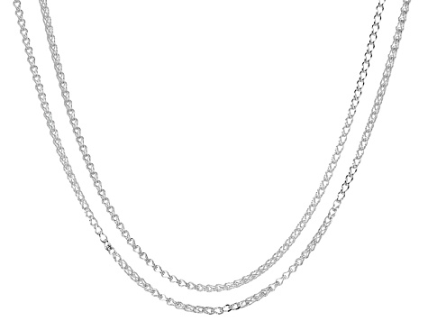 Sterling Silver Diamond Cut Wheat Link Chain Necklace Set Of 2
