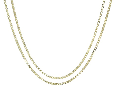 18k Yellow Gold Over Sterling Silver Wheat Link Chain Necklace Set Of 2