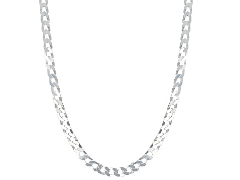 Sterling Silver Diamond Cut Curb Link Chain Necklace 20 inch 4mm