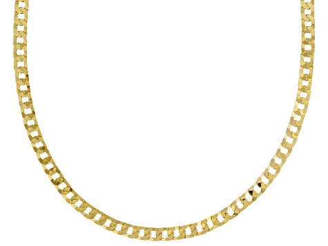 18k Yellow Gold Over Sterling Silver Curb Link Chain Necklace 20 inch