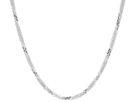 Sterling Silver Diamond Cut Square Wheat Link Chain Necklace 20 inch