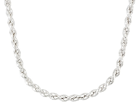Sterling Silver Rope Link Sliding Adjustable Chain Necklace 30 inch 3.5mm