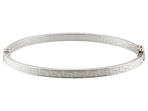 Sterling Silver Greek Key Bangle Bracelet 7 inch