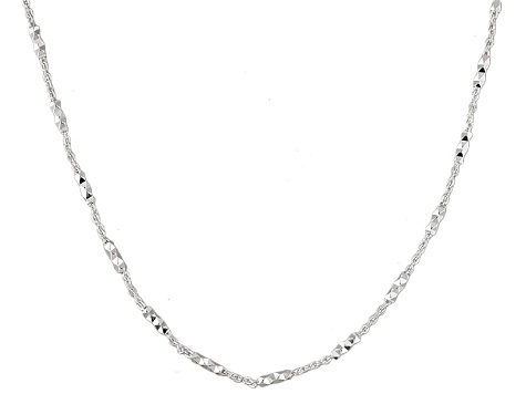 Sterling Silver Diamond Cut Cable Link Necklace 24 inch