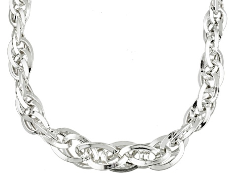 Sterling Silver interlocking Oval Links Necklace 18 inch