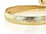 18K Yellow Gold Over Sterling Silver Bombe Herringbone Link Bracelet 7.5 inch