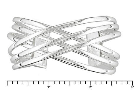 Sterling Silver Multi-Row Crossover Cuff Bracelet 7.5 inch