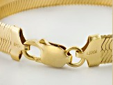 18k Yellow Gold Over Sterling Silver Herringbone Link Bracelet 9mm