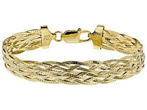 18 K Yellow Gold Over Sterling Silver Braided Herringbone Link Bracelet 7.5 inch