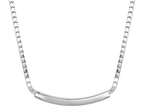 Sterling Silver Tube Station Necklace 18 inch