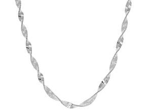 Sterling Silver Herringbone Link Necklace 18 inch