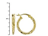 18k Yellow Gold Over Silver Tube Hoop Earrings Set Of Three
