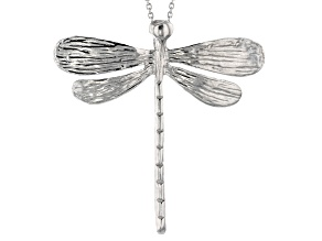 Rhodium Over Sterling Silver Dragonfly Pendant 18 inch