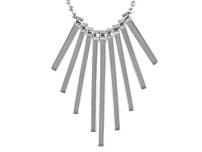 Rhodium Over Sterling Silver Bar Necklace 18 inch