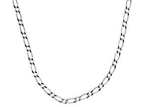 Sterling Silver Figaro Link Chain Necklace 20 inch