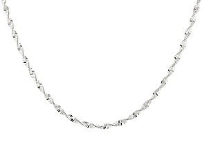 Sterling Silver Herringbone Link Chain Necklace 18 inch 2.5mm