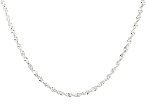 Sterling Silver Herringbone Link Chain Necklace 20 inch 2.5mm