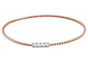 18k Rose Gold Over Silver And Rhodium Over Silver Bangle Bracelet 8 inch