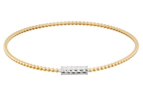 18k Yellow Gold Over Silver & Rhodium Over Silver Bangle Bracelet 8 inch
