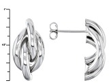 Rhodium Over Sterling Silver Love Knot Stud Earrings