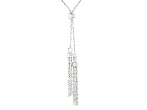 Sterling Silver Popcorn Link With Tassel Sliding Adjustable Necklace 32 inch