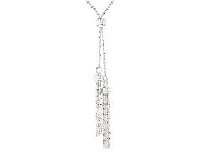 Sterling Silver Popcorn Link With Tassel Sliding Adjustable Necklace 32 inch