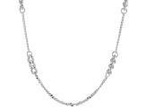 Sterling Silver Curb Station Link Necklace 39 inch