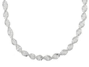Sterling Silver Herringbone Link Necklace 20 inch