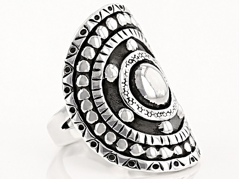 Oxidized Rhodium Over Sterling Silver Medallion Ring
