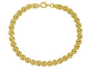 18k Yellow Gold Over Sterling Silver Rosetta Link 8 Inch Bracelet