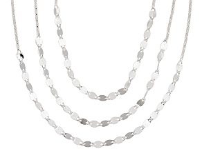 Sterling Silver Multi-Row Multi-Link Necklace 17 inch