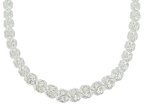Sterling Silver Rosetta Link Necklace 20 inch