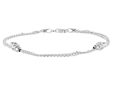 Sterling Silver Two Row Bead Station Bracelet 7 5 Inch