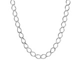 Sterling Silver Marquise Curb Link Chain Necklace 20 inch