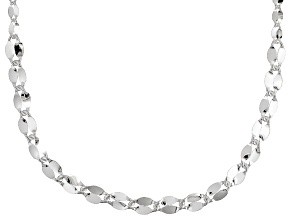 Sterling Silver Graduated Flat Cable Link Necklace 20 inch 5mm