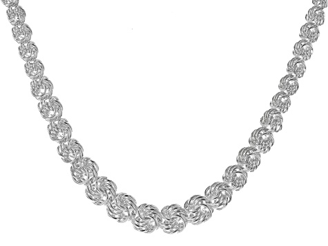 Sterling Silver Graduated Rosetta 18 inch Necklace