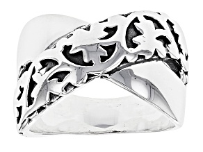 Oxidized Rhodium Over Sterling Silver Polished Criss Cross Ring