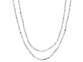 Sterling Silver Twisted Square Snake Chain Necklace Set Of Two 18 And 20 inch