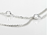 Sterling Silver Two Strand Diamond Cut And Singapore Bead Necklace 18 inch