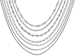 Sterling Silver Multi-Link Chain Set Of 7 20 inch