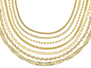 18K Yellow Gold Over Sterling Silver Multi-Link Chain Set Of 7 20 inch