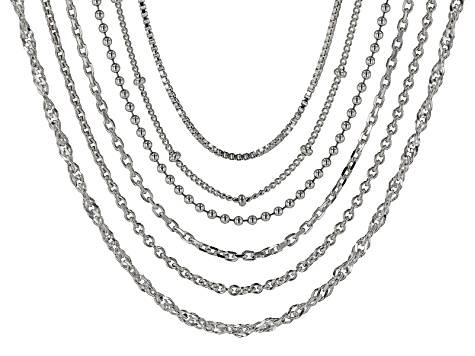 Sterling Silver Multi-Link Chain Set Of Six 20 inch
