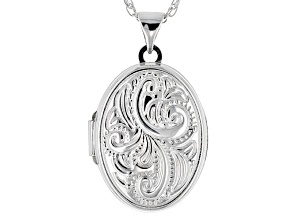 Rhodium Over Sterling Silver Pendant Locket.