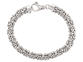 Rhodium Over Sterling Silver 8mm Domed Byzantine Bracelet 7.5 inch