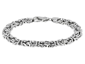 Rhodium Over Sterling Silver 8mm Dome Byzantine Bracelet 8 inch